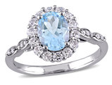 Blue Topaz and White Topaz 2.15 Carat (ctw) Ring with Diamonds in 14K White Gold
